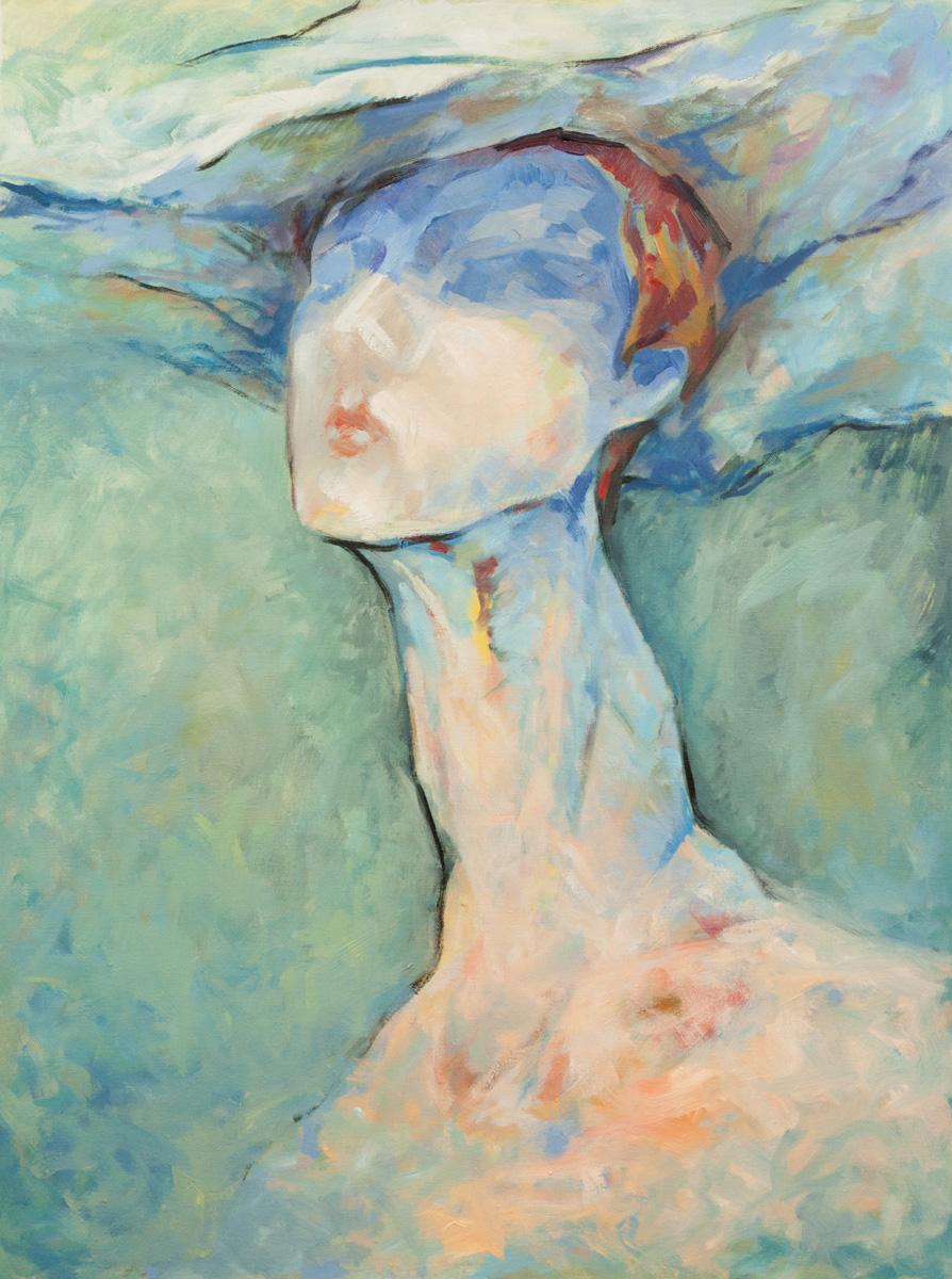 Portrait einer jungen Frau 60x80 Öl Leinwand
